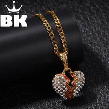 THE BLING KING Custom Stainless steel broken heart Necklace Hip Hop Full Iced Out Cubic Zirconia gold sliver CZ Stone(China)