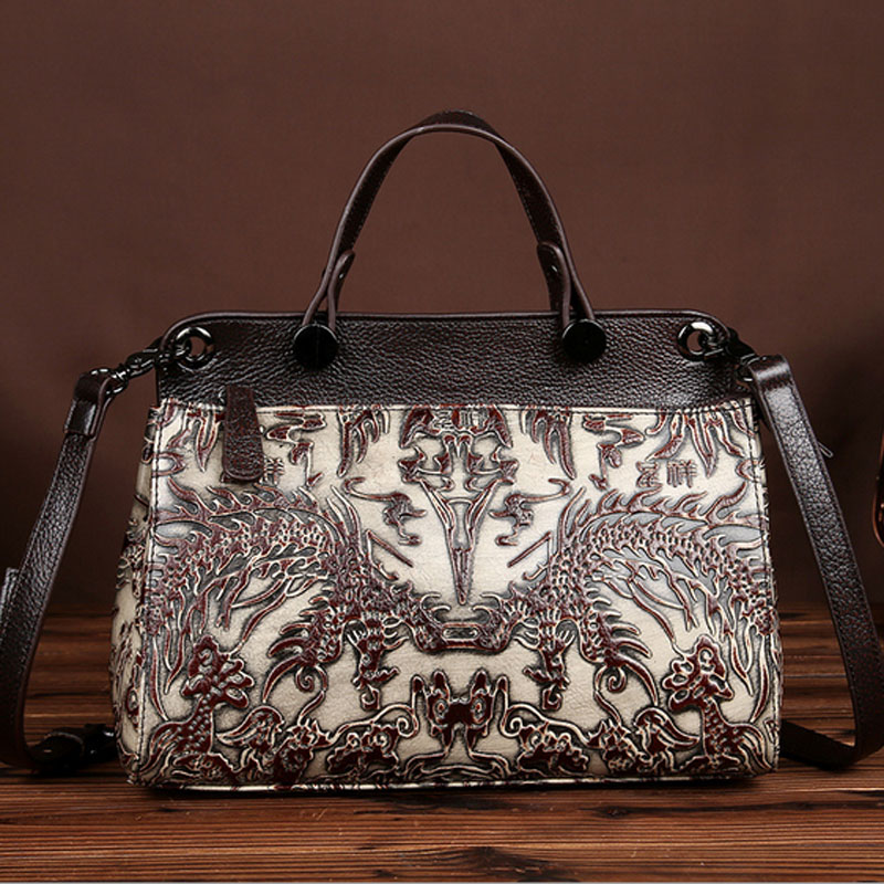 Vintage Women Famous Designer Brand Genuine Leather Messenger Tote Bag Chinese Style Embossing Shoulder Messenger Bag Handbags