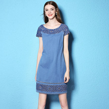 Summer and Autumn large size dress flowers embroidery patchwork lace loose thin denim Dress NW17B1128