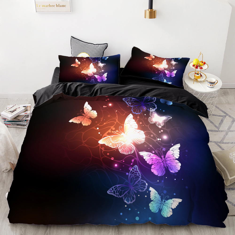 3D HD Digital Printing Custom Bedding Set,Duvet Cover Set Queen Cal King,Wedding Bedclothes Butterfly On Black Drop Shipping