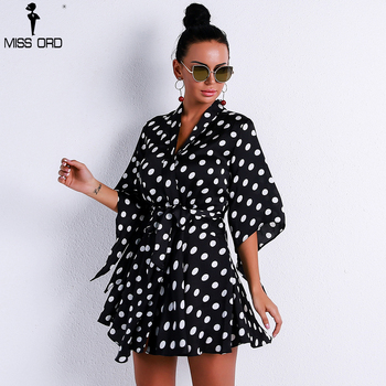 Missord 2018 Sexy Half Sleeve Print Dot Belt Dresses Female Elegant Mini Dress Summer Dress FT9216-1