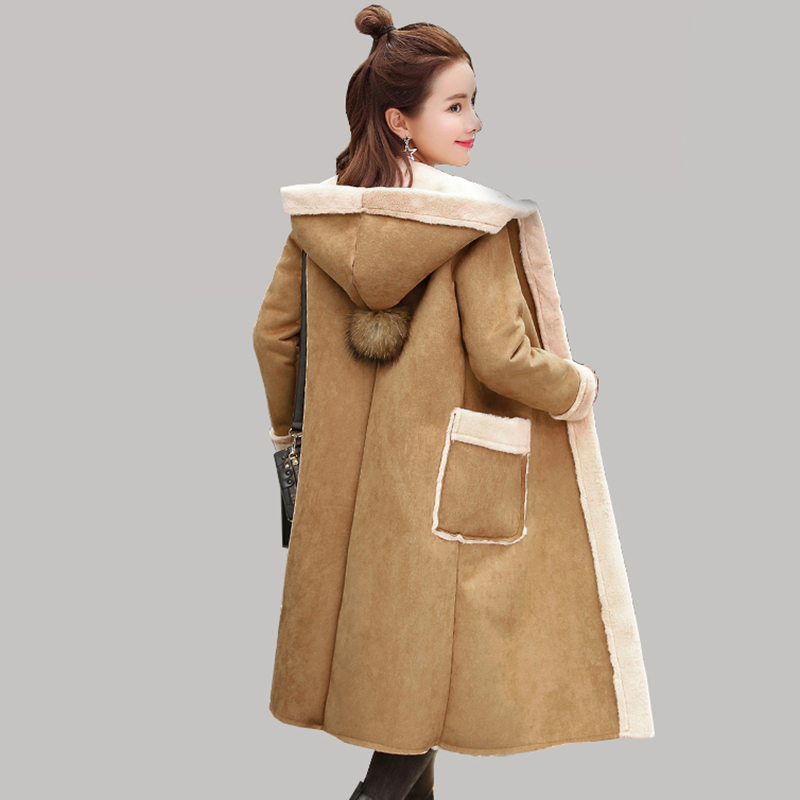 Women's winter Suede leather coat clothing long Slim Hooded thick warm Suede Plush jacket female coat Plus size outerwear QH1230