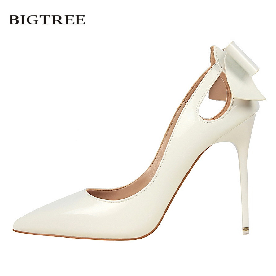BIGTREE Spring Elegant Pumps Sexy High-heeled Shoes Sweet Bow Patant Leather Thin High Heels Pointed Hollow Shoes G3168-8 lakeshi new fashion pumps thin sexy high heeled shoes woman pointed suede hollow out bowknot sweet elegant women shoes