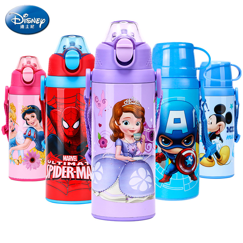 Disney Baby Water Bottle Mickey Minnie Sofia Captain America Spiderman Metal Drinking Bottle Kids Sippy Cup With Straw Thermos