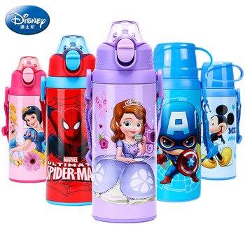 05771b3a5 Disney bebé botella de agua de Mickey Minnie Sofia Capitán América  Spiderman de Metal botella de bebida niños taza con paja termo