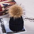 Women Men's Winter Hats Acrylic Yarn Knitted Hat with 13cm Raccoon Fur Pompons Headgear for Women Autumn Men's Winter Knit Cap