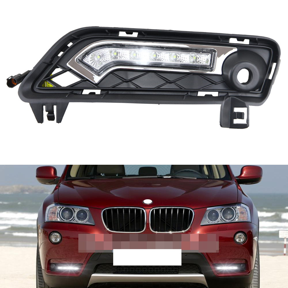 1 Pair of ABS F25 LED Daytime Running Light LED DRL Lamp for BMW X3 F25 2010- 2014 auto parking light with turn signal lights