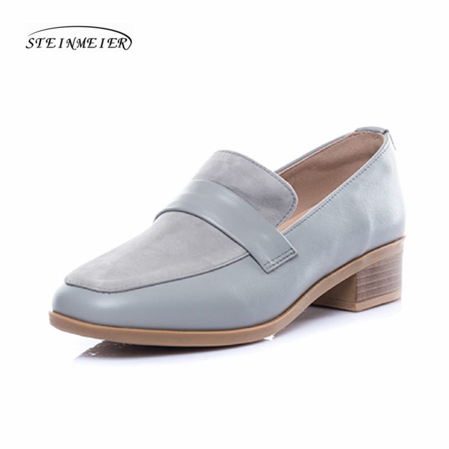 women genuine leather suede single shoes oxford square toe beige lady loafers casual shoes for women