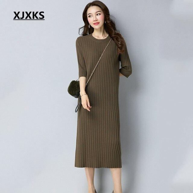c0a25a20c25b XJXKS Round Neck Casual Women Long Sweater Dress Autumn 2017 New Selling  Comfortable Three Quarter Sleeve Dresses
