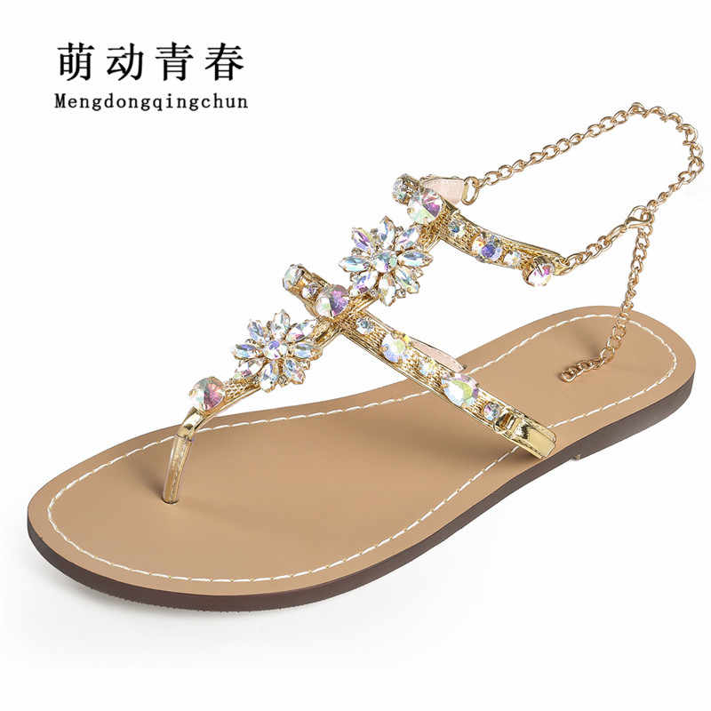 110e77eba0f39c 2018 Woman Sandals Women Shoes Rhinestones Chains Thong Gladiator Crystal  Flat Heels Sandals Five Color Plus