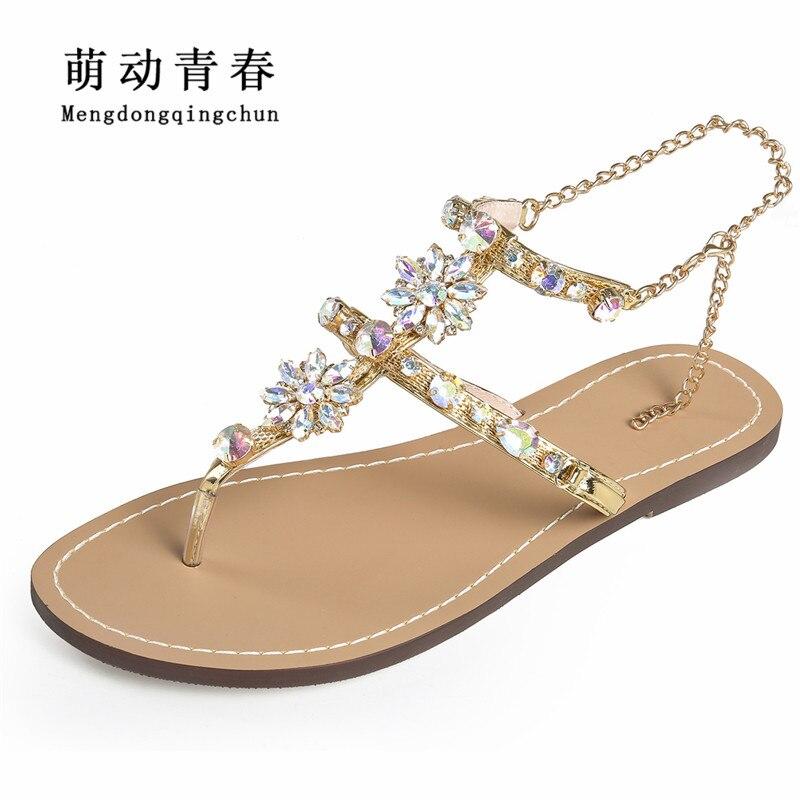 2018 Sandálias Mulher Mulheres Sapatos Cadeias Strass Tanga Gladiador Sandálias de Salto Plana De Cristal Cinco Cores Plus Size 46