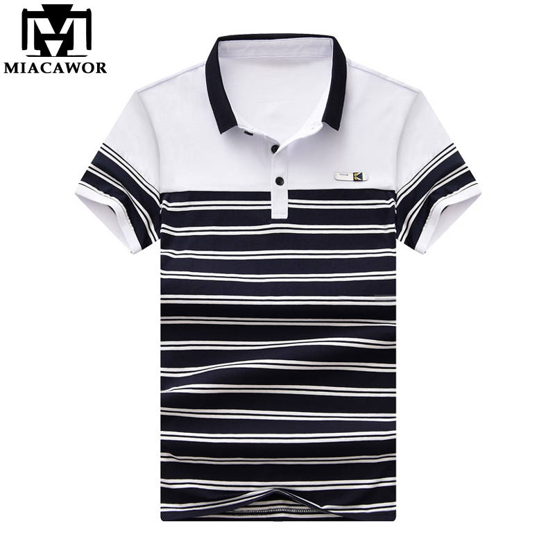 30210784de0db Detail Feedback Questions about MIACAWOR New Casual Striped Men Polo Shirt  Summer Short sleeve Polo Homme Slim Fit Camisas Polo Men Clothing Plus Size  MT620 ...