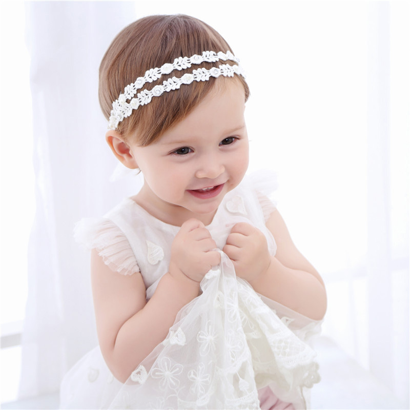 Bebe Girl Headband Hair Ribbon Retro Elastic Hair band Children Pearl Lace Flower Hair Band Kids Headwear Hair Accessories bebe girls flower headband four felt rose flowers head band elastic hairbands rainbow headwear hair accessories