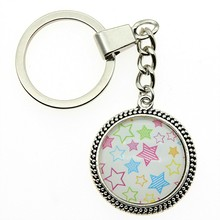 2 Colors Keyring 25mm Colorful Stars Glass Cabochon Keychain Jewelry Gift Dropshipping Supplier