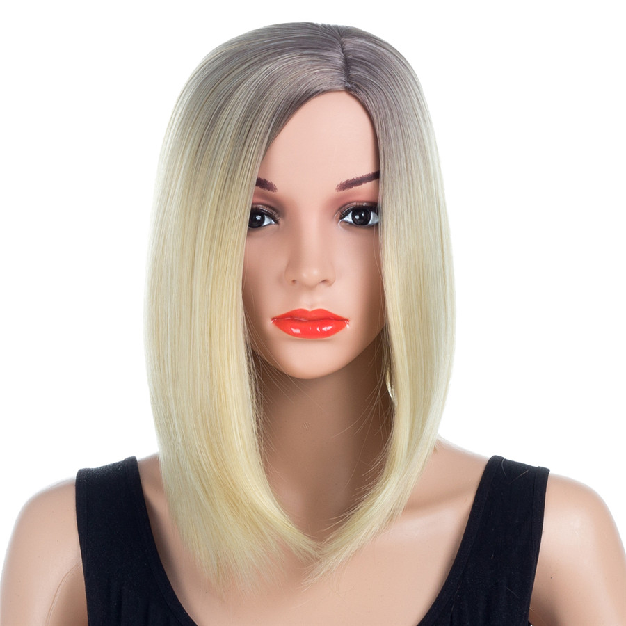 ELEGANT MUSES 14 Gray Roots Ombre Color Blonde Brown Short Straight Bob Wigs Heat Resistant Synthetic Wigs For Women