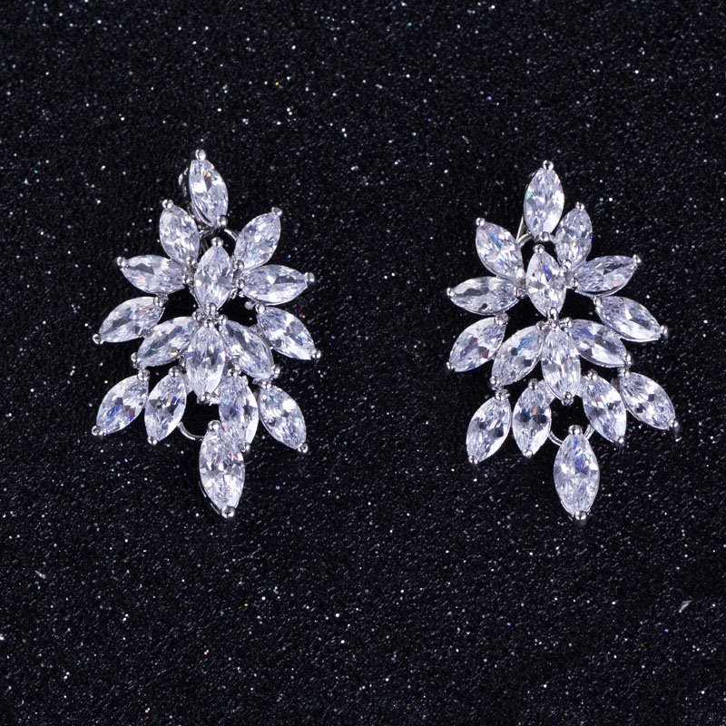 stud earrings d cut diamond asscher silver cz sterling