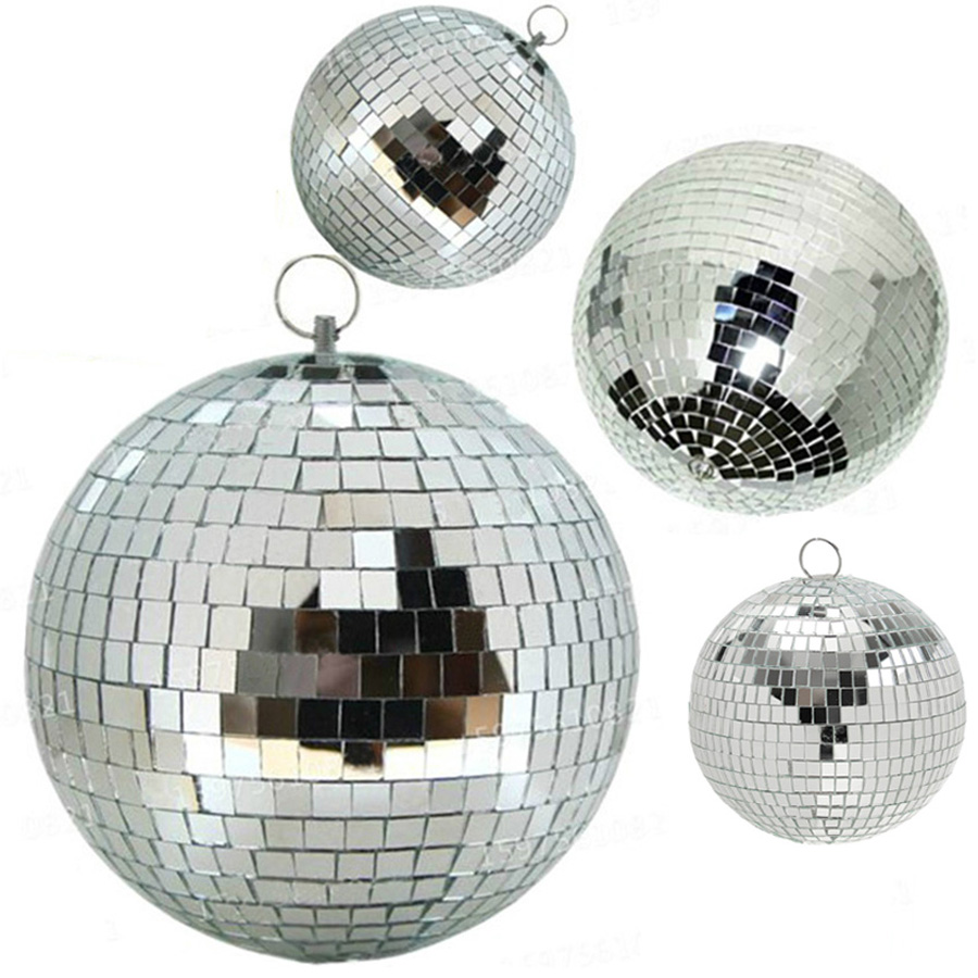 Thrisdar Dia15CM 20CM 25CM 30CM Glass Rotating Disco Mirror Ball Commercial Holiday Party Wedding Reflective Hanging Disco Ball