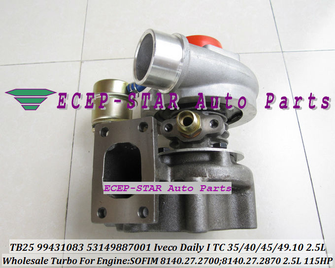 TB2509 53149887004 466974-0008 466974-0009 99431083 Turbo Turbocompresseur Pour IVECO Daily 35.10 40.10 45.10 49.10 2.5L 8140.27.2700