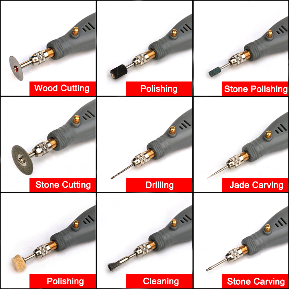Image 5 - NEWACALOX DIY Mini Rotary Tool USB 5V DC 10W Variable Speed Wireless Electric Grinder Set Wood Carving Pen for Milling Engraving-in Grinders from Tools on