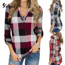 2019 Women Plaid Shirt Printed Long Sleeve V-Neck Blouse Ladies Casual Summer Blouses Female Blusas Mujer Shirts Tops Clothing(China)