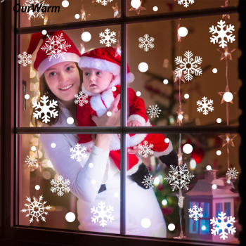 OurWarm Christmas Party Snowflakes Window Wall Sticker Hanging Ornament Kids Gift Winter Party Decoration For Home