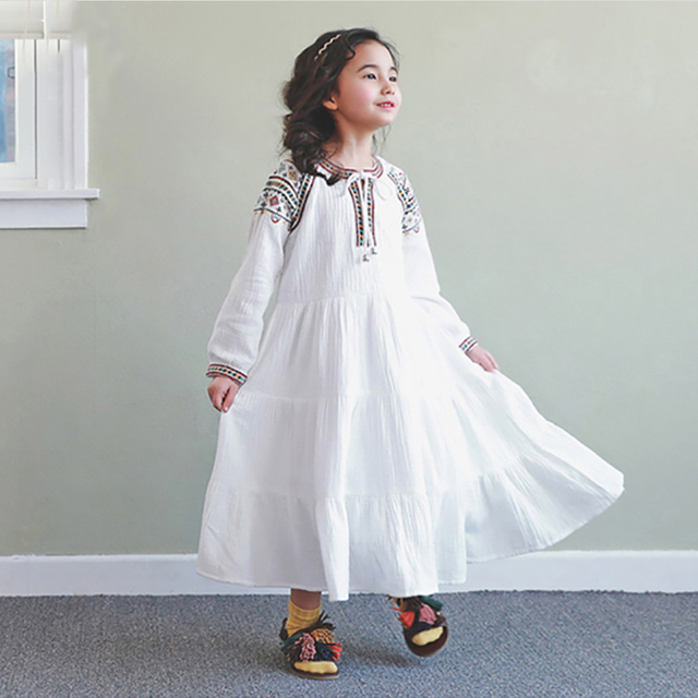 Girls dress party princess baby kids wedding Kamiwa 2017 spring autumn Chinese style embroidery girl clothes teenage top