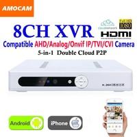 New CCTV 8Channel XVR Video Recorder All HD 1080P 8CH Super DVR Recording 5 in 1 support AHD/Analog/Onvif IP/TVI/CVI Camera