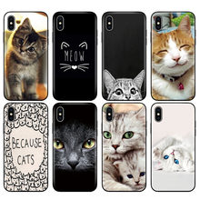 Carcasa de TPU negra para iphone 5 5s se 6 6s 7 8 plus x 10 funda de silicona para iphone XR XS 11 pro MAX caso Miau precioso gato kitty(China)