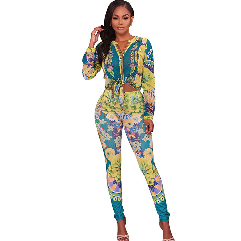 2017 Fashion Two Piece Sets Women Autumn Long Sleeve Shirt Top and Pants Set Print Sweat ...