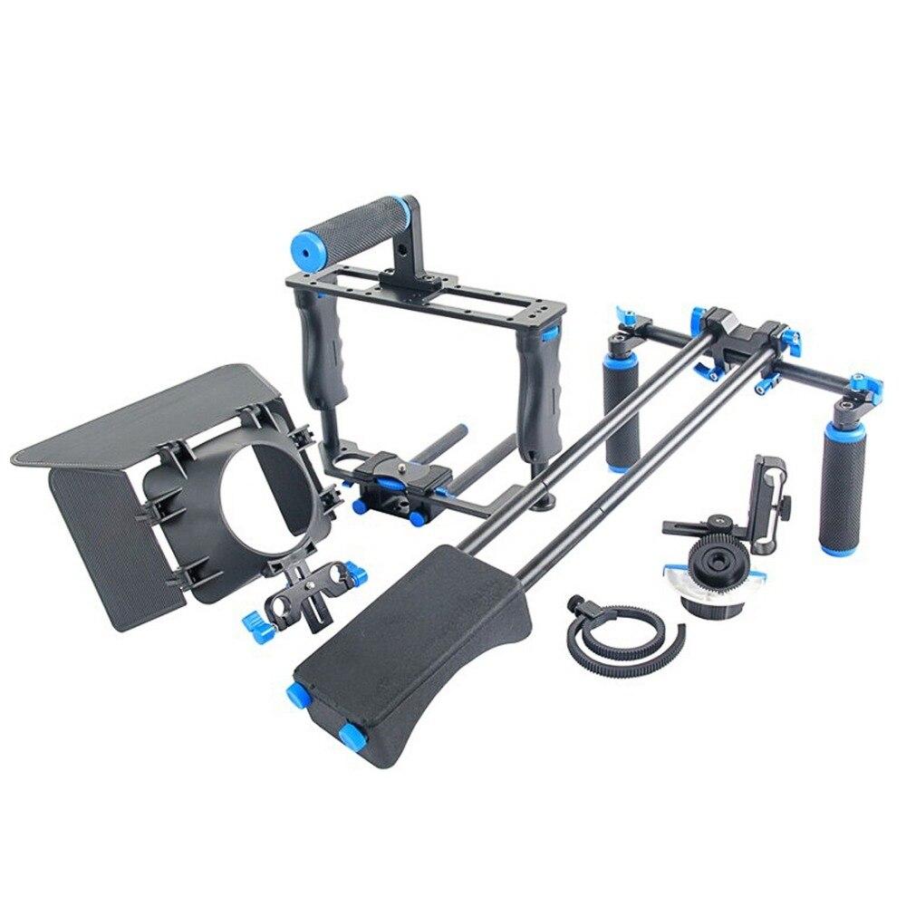 YELANGU profesional DSLR Rig hombro estabilizador cámara de vídeo soporte jaula/caja mate/seguir el enfoque para cámara Canon Nikon Sony - 4