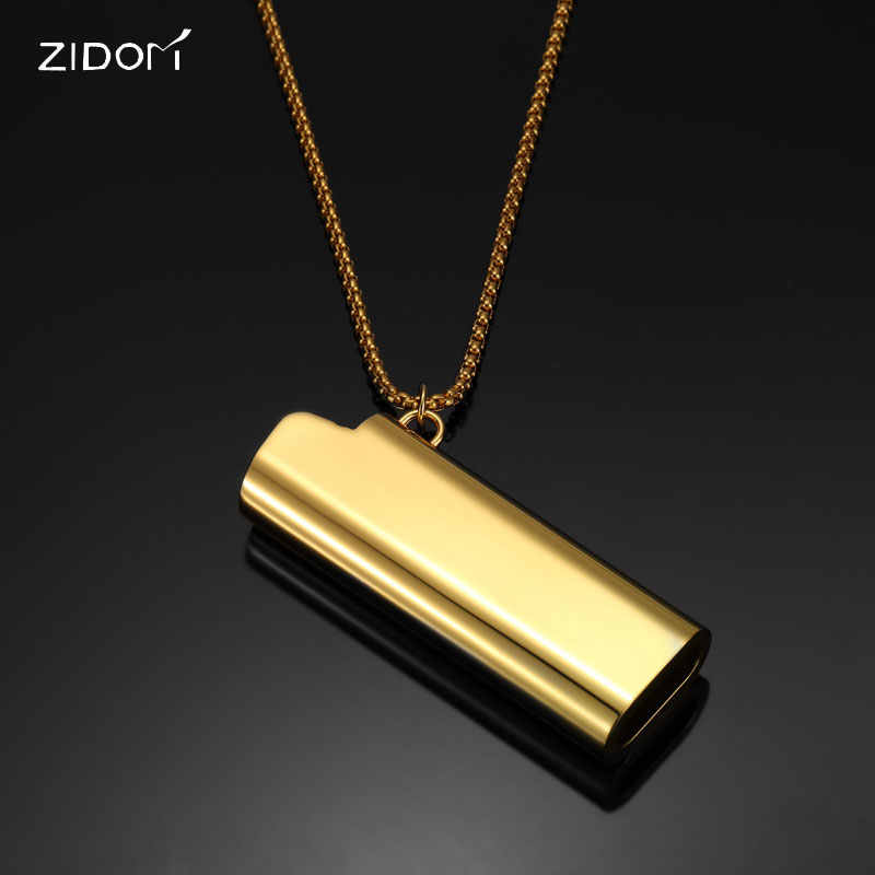 2018 new arrived Men Hiphop Stainless Steel Lighter Cover shape pendant necklaces with 70cm long chain Hip hop necklace jewelry