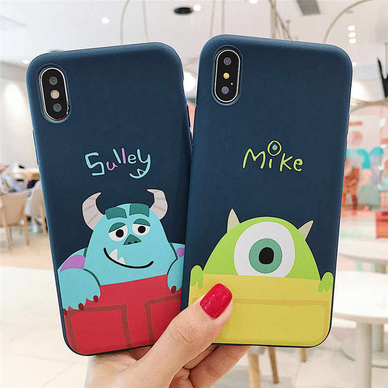 Dos desenhos animados Toy Story bonito Sulley Mike Case Para iPhone 6 6 S S 7 8 Plus X XS MAX XR fosco Silicone Macio TPU Tampa Do Telefone Coque Funda