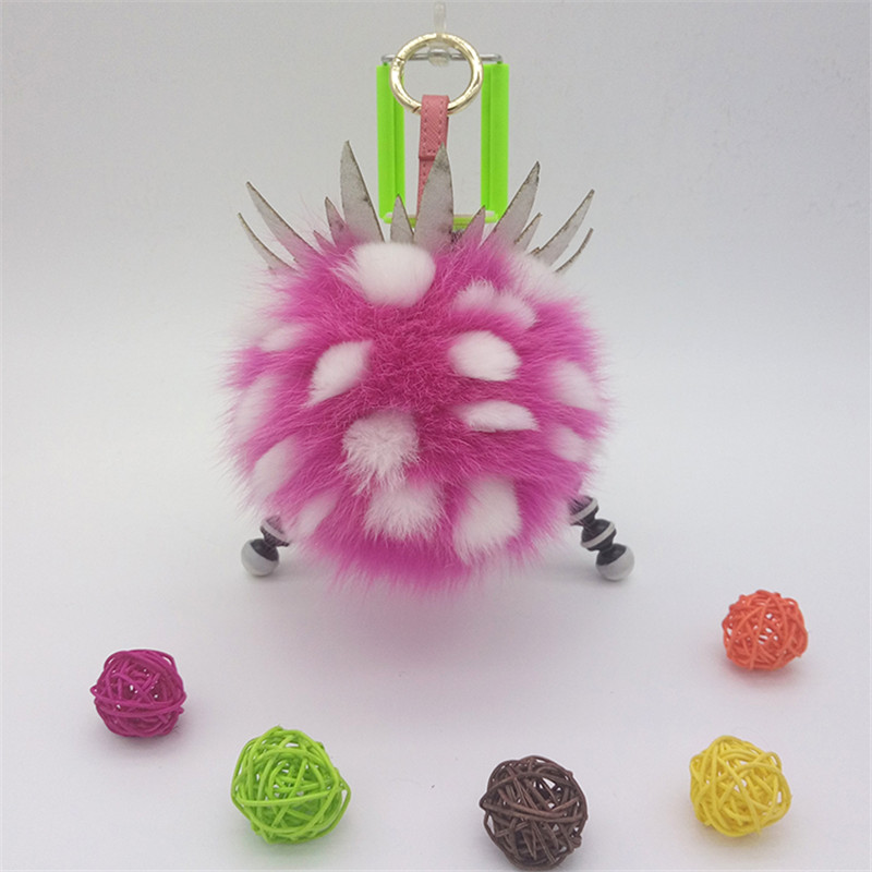 15cm Fox Fur Ball Keychain Pom Pom Fluffy Pineapple Key Chains Pompom Car Keyring Women Bag Charm Pendant Fur Pompon Key Rings цены онлайн