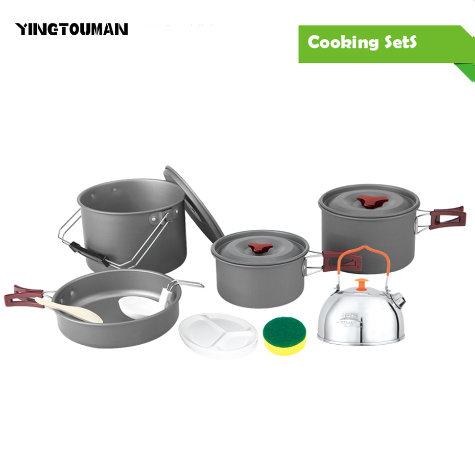 Brs-157 4-5 People Dining Portable Camping Picnic Cooker Aluminum Alloy Outdoor Camping Cookware Sets Folding Handle Pot and Pan 220v 600w 1 2l portable multi cooker mini electric hot pot stainless steel inner electric cooker with steam lattice for students