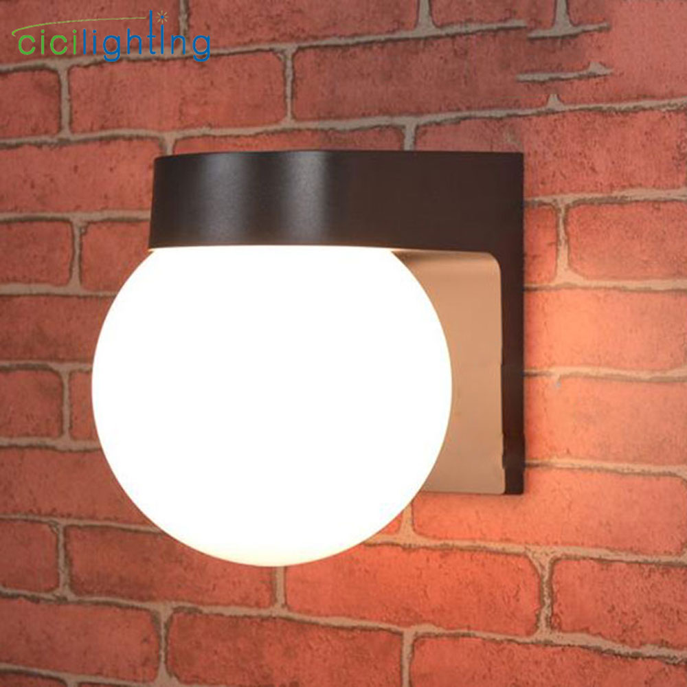 Modern Loft Led Outdoor Porch Light, Black White PC Base Milky Acrylic Lampshade E27 Ball Outdoor Wall Lamp Up Down Wall Lamp