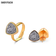 ShinyGem New Triangle Mineral Crystal Earrings Ring Party Jewelry Set Golden Sparkling Druzy Natural Stone For Women