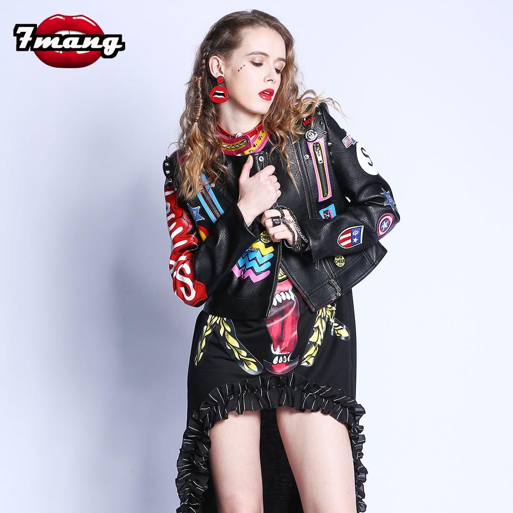 2017 Fashion Autumn Women Punk Heavy Metal Street Short Leather Jacket Black Zipper Rivet Long Sleeve Motorcycle Coat