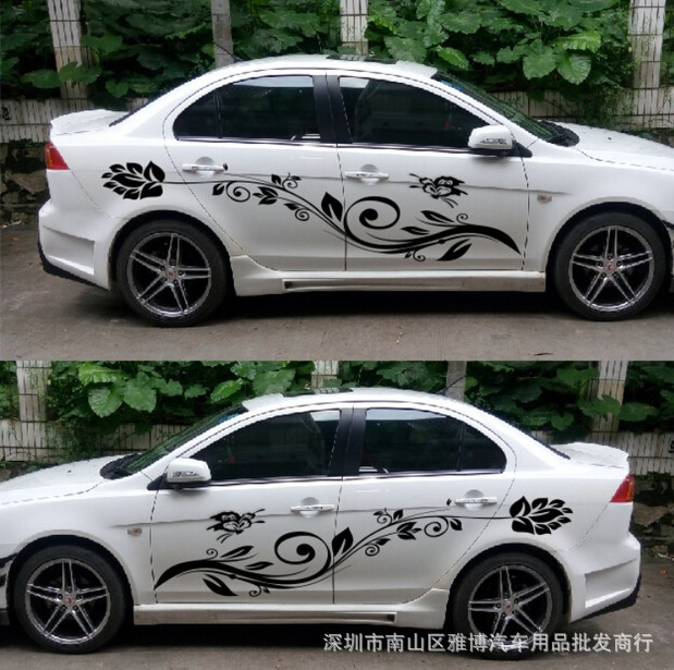 XYIVYG 1 Set Flowers  Car the Whole Body Sticker Decor Vinyl Decals Auto Universal Styling With The Length 1.8m 1pair universal fashion car sticker decals fire flame decor vinyl decoration stickers auto truck styling for the whole car body
