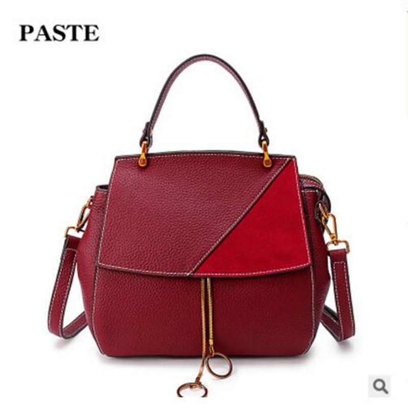 PASTE High-end luxury brand women's bag 2018 new handbag fashion retro shell frosted first layer leather shoulder Messenger Bag paste new leather handbags first layer of leather shoulder bag messenger bag handbag white casual bag female shoulder bag