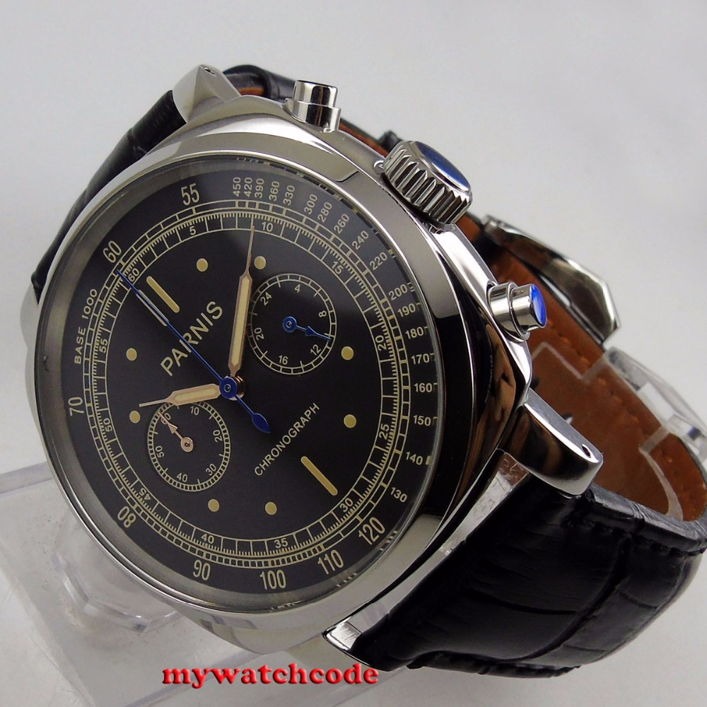 Luksusowa marka 44mm czarna tarcza Parnis stałe przypadku zatrzymać zegarek pełna chronograf pełna stali nierdzewnej wodoodporny męski zegarek kwarcowy w Zegarki kwarcowe od Zegarki na  Grupa 1