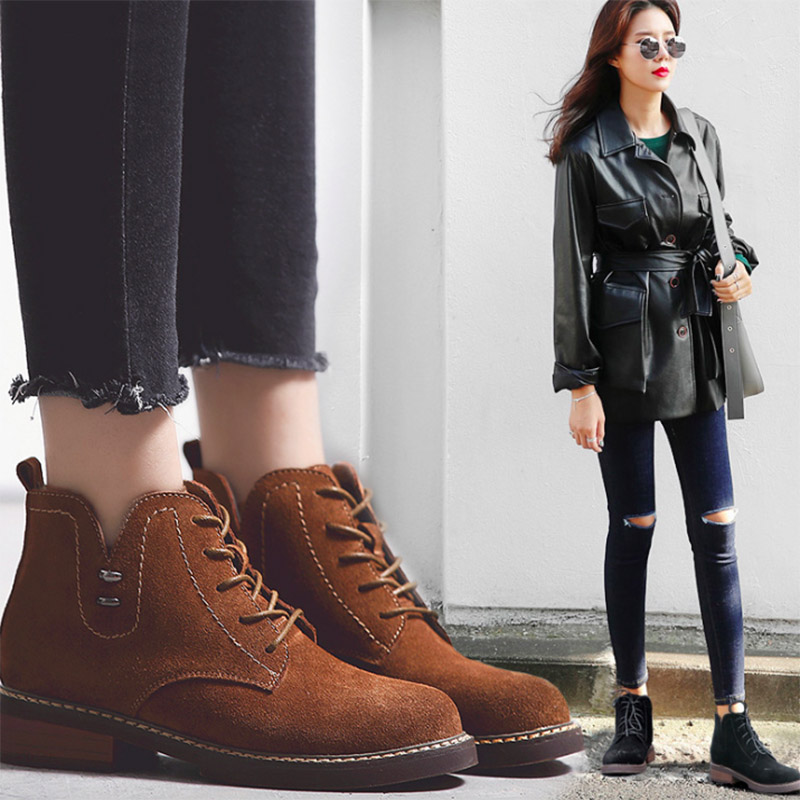 2017 Autumn and winter new cow suede boots  female rough with Martin boots female British style flat Strappy bare boots  3011 цена 2017