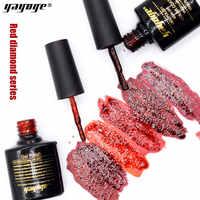 YAYOGE UV vernis à ongles rouge paillettes 0.3oz 10ml souper diamant brillant gel vernis Semi Permanent manucure pour l'art des ongles