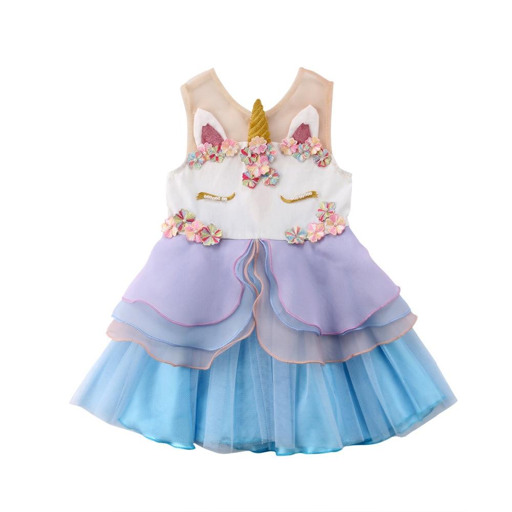 The Best Unicorn Girl Dress Kids Clothes Party Wedding Newborn Princess Dress Mesh Summer Baby Girls Dress Costume Girls' Clothing