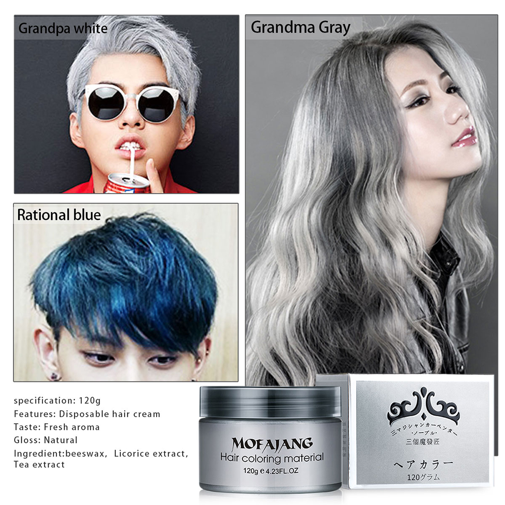 Temporary Hair Dye Cream Silver Grandma Grey Hair Color Wax Mud ...