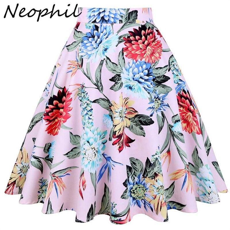 1dc9c059c9 Neophil Flower Print Floral Summer Midi Skirts Womens High Waist 2018 Retro  Vintage S-XXL A-Line Pleated Jupe Femme Saia S1703