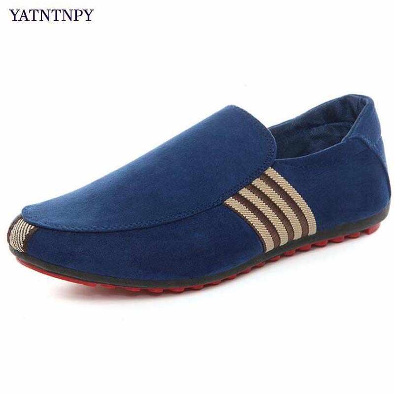 YATNTNPY สบายผู้ชายรองเท้าแบนสบายๆผ้าใบ Sapatos Loafers Man รองเท้าแตะ SLIP-ON รองเท้าผ้าใบ espadrilles (ขนาดเล็ก)