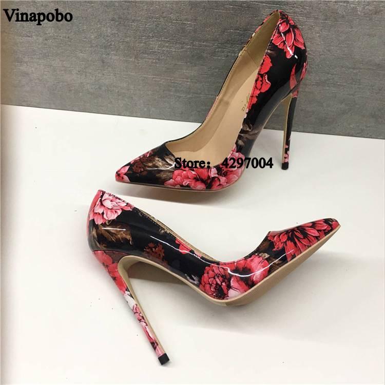 Vinapobo Stylish Women Pumps Elegant Print Patent Leather Pointed Toe Thin High Heels Pumps Plus Size