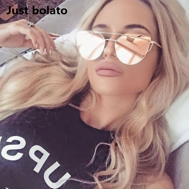 Новинка 2017 года Солнцезащитные очки для женщин Для женщин Cateye люкс квартира кошачий глаз Солнцезащитные очки для женщин Для женщин Twin-луч Защита от солнца очки розового золота сплава Рамки UV400 очки