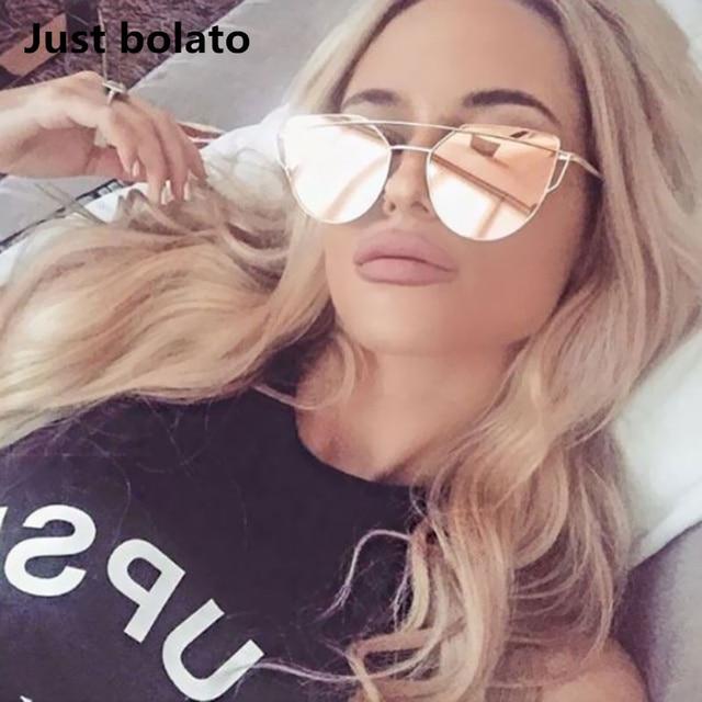 f750f371b95e7 2018 New Sunglasses Women Cateye Luxury Flat Cat Eye Sunglasses Women  Twin-Beam Sun glasses Pink Gold Alloy Frame UV400 Eyewear