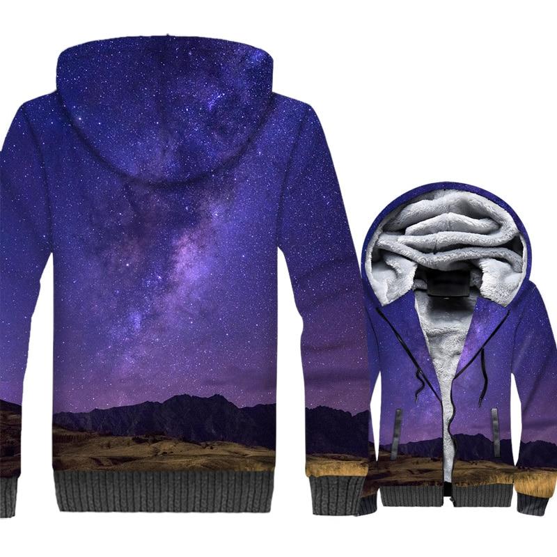 Nouveauté vêtements 2018 violet espace Galaxy hommes Hoodies Hip Hop vestes mâle nébuleuse Zipper polaire manteau Harajuku manteaux d'hiver